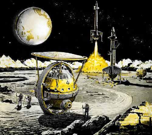 Иллюстрация Ф. Тинсли к своей статье «Как мы будем исследовать Луну» (1959)