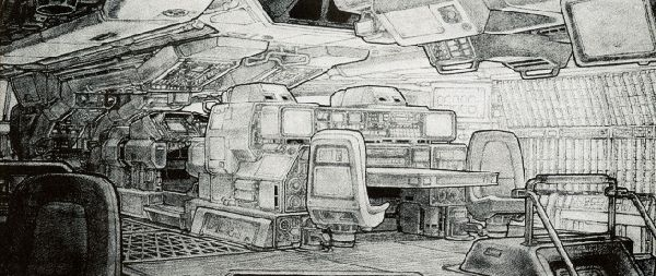 """Интерьер """"Nostromo"""" – вид на капитанский мостик."""