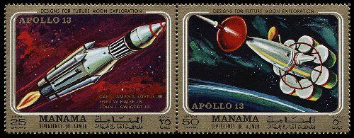 Марки посвященные неудачному полёту Apollo-13.