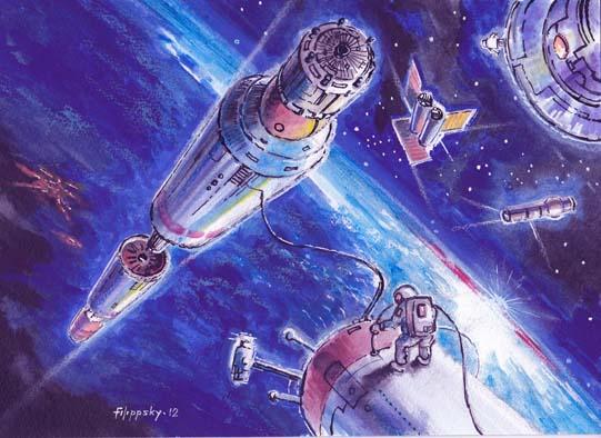 процесс сборки на орбите блоков межпланетного корабляТМК-1.