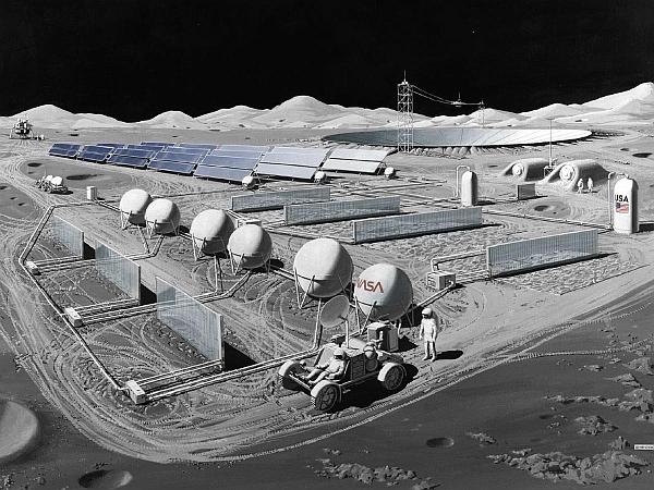 """Lunar Outpost – один из концепт-артов представляющих лунную американскую базу с """"солнечными сотами"""" (Solar Cells)"""