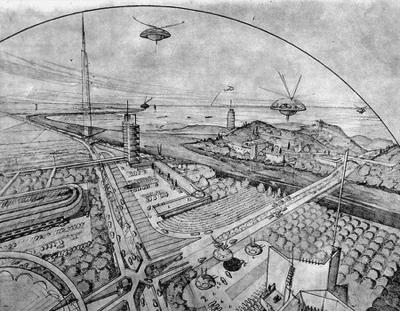 """Broadacre City– один из первых проектов """"экологического города""""."""