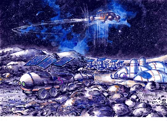 """Будни лунного поселения (тяжелые луноходы и лунная база проекта """"Вулкан-ЛЭК"""")"""