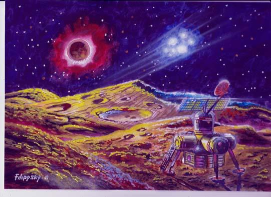 Солнечное затмение на Луне,НЛО над модулем станции Вулкан-ЛЭК