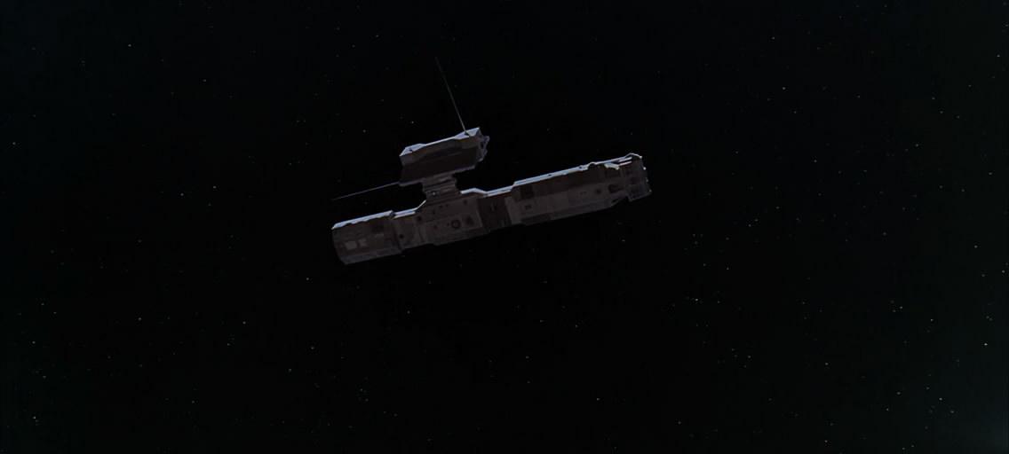 Первый космический корабль без названия. Похож на транспортный.