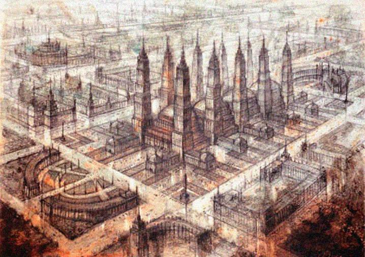 Рисунок города будущего - Communist Gothic