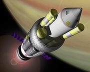 """Межпланетный корабль """"Orion"""" на обрите Юпитера (современный рисунок)"""