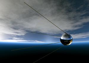 Первый советский спутник ПС-1 в космосе (современное изображение)
