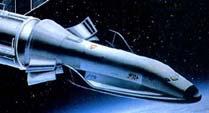 """Орбитальный самолёт """"Hermes"""" с ресурсным модулем на околоземной орбите (рисунок)"""