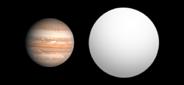 Сравнительные размеры Юпитера и экзопланеты Kepler 5b