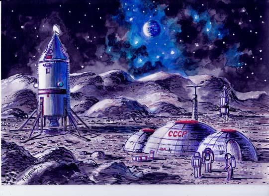 Надувные блоки (советский лунный модуль ЛК-700).