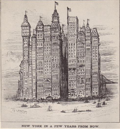картинка, появившаяся в 1881 году, изображала Нью-Йорк примерно через 20-30 лет