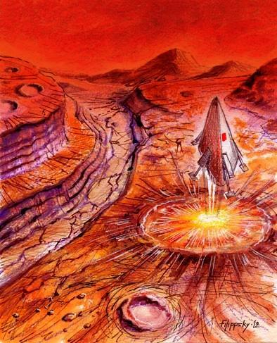 Самый первый вариант высадки на Марс.
