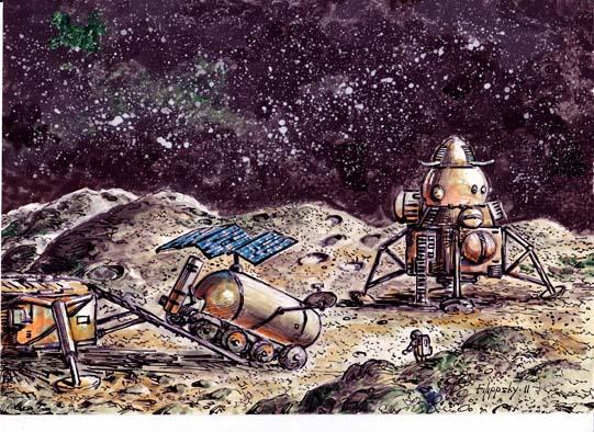 Спуск тяжелого лунохода (рядом виден лунный посадочный модуль ЛЭК)