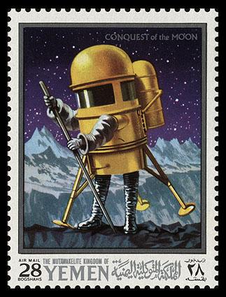 Почтовая марка - человек в скафандре